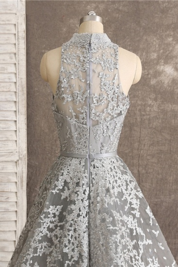 Gorgeous High-Neck Tulle Lace Prom Dresses Sleeveless Appliques Rhinestones Formal Party Dresses On Sale_6