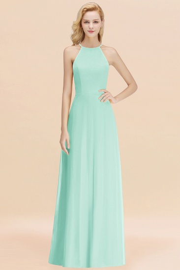 Modest High-Neck Yellow Chiffon Affordable Bridesmaid Dresses Online_36