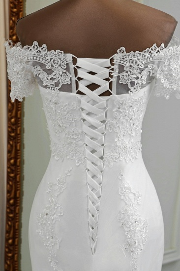 Gorgeous Off-the-Shoulder Lace Mermaid Wedding Dresses Short Sleeves Rhinestons Bridal Gowns_9