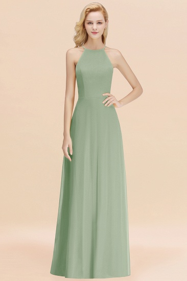 Modest High-Neck Yellow Chiffon Affordable Bridesmaid Dresses Online_41