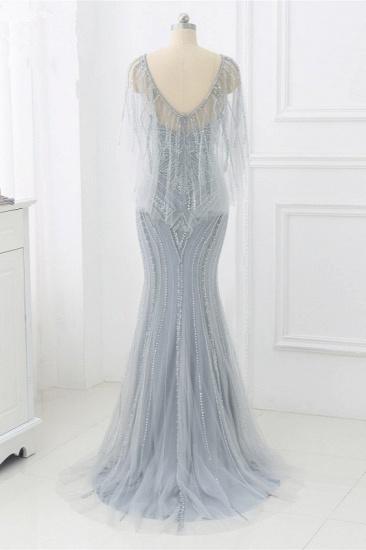 Elegant Tulle Jewel Beadings Mermaid Prom Dresses with Ruffles Online_3