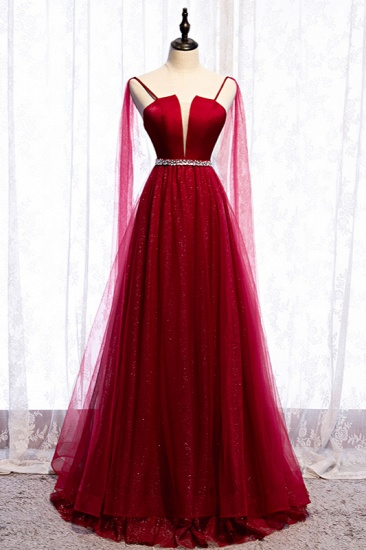 Stunning Spaghetti Straps Tulle Burgundy Prom Dresses V-Neck Sleeveless Sequins Evening Dresses Online_1