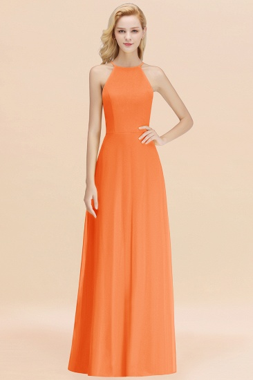 Modest High-Neck Yellow Chiffon Affordable Bridesmaid Dresses Online_15