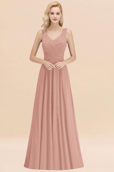 Modest Sleeveless V-Neck Long Chiffon Bridesmaid Dress Online with Ruffle_6