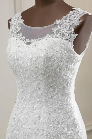 Stunning Jewel Sleeveless White Wedding Dresses White Mermaid Beadings Bridal Gowns_7