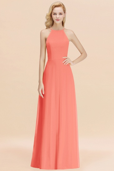 Modest High-Neck Yellow Chiffon Affordable Bridesmaid Dresses Online_45