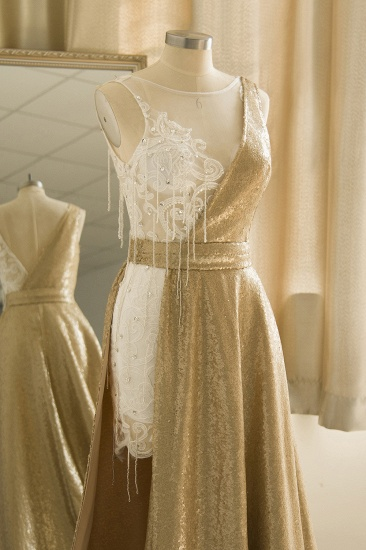 BMbridal Stylish Jewel Gold Sequined A-Line Prom Dresses Sleeveless White Appliques Evening Dress with Beadings_6