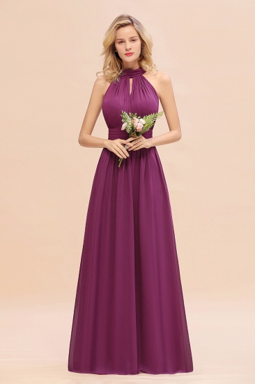 Glamorous High-Neck Halter Bridesmaid Affordable Dresses with Ruffle_42