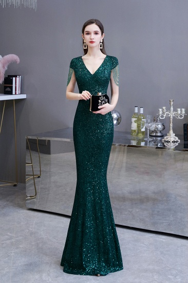 BMbridal Elegant Cap Sleeve Green Prom Dress Sequins Long Evening Gowns Online_4