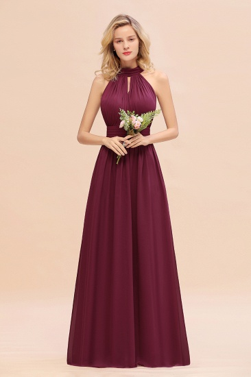 Glamorous High-Neck Halter Bridesmaid Affordable Dresses with Ruffle_44