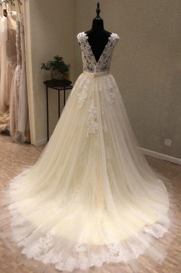 BMbridal Chic Ivory Tulle Lace V-Neck Long Wedding Dress Cap Sleeve Ivory Bridal Gowns On Sale_3