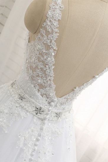 Stunning Straps V-Neck Tulle Appliques Wedding Dress Lace Sleeveless Bridal Gowns with Beadings Online_6