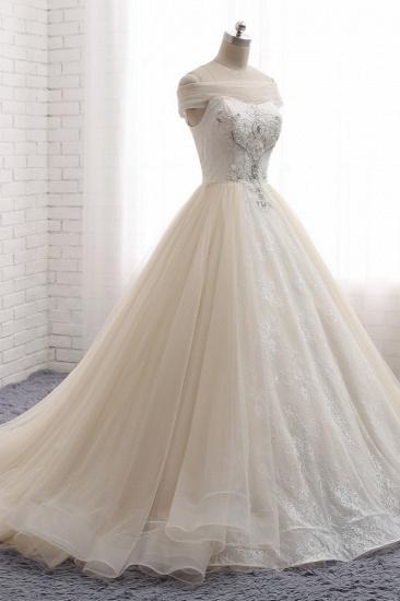 BMbridal Unique Champagne Bateau Lace Wedding Dresses With Appliques Tulle Ruffles Bridal Gowns Online_4