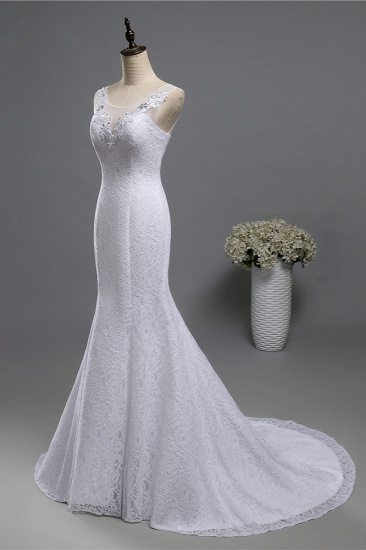 BMbridal Affordable Jewel Lace Sequins Mermaid Wedding Dress Sleeveless Appliques Bridal Gowns with Crystals_5