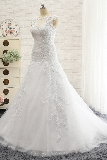 Modest Sleeveless Jewel Wedding Dresses With Appliques White Mermaid Bridal Gowns On Sale_4