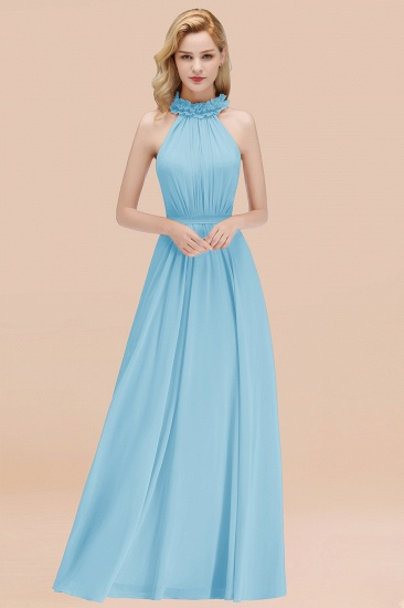 Modest High-Neck Halter Ruffle Chiffon Bridesmaid Dresses Affordable_23
