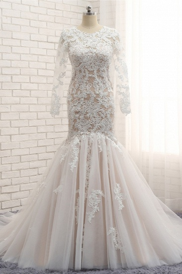 BMbridal Elegant Longsleeves Jewel Mermaid Wedding Dresses Champagne Tulle Bridal Gowns With Appliques On Sale_1