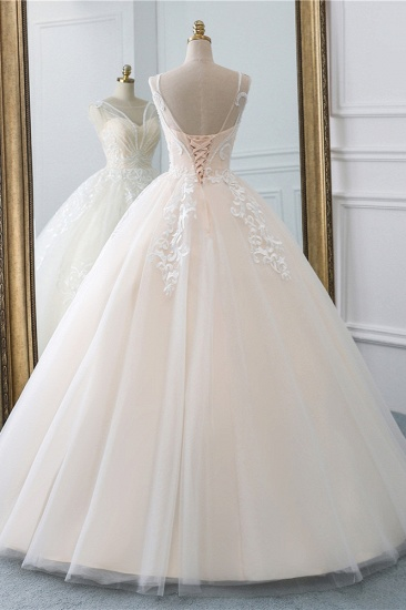 BMbridal Glamorous Sleeveless Jewel Pink Wedding Dresses Tulle Ruffles Bridal Gowns With Appliques Online_3