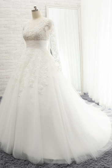 BMbridal Chic Longsleeves Jewel A line Wedding Dresses White A line Tulle Bridal Gowns With Appliques Online_4