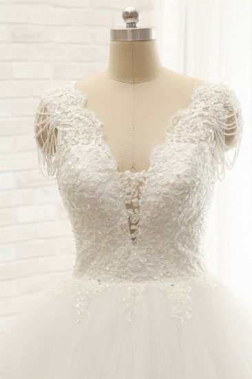 Glamorous V neck Straps White Wedding Dresses With Appliques A line Sleeveless Tulle Bridal Gowns Online_4