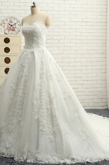 BMbridal Glamorous Sweetheart A-line Tulle Wedding Dresses With Appliques White Ruffles Lace Bridal Gowns  Online_4