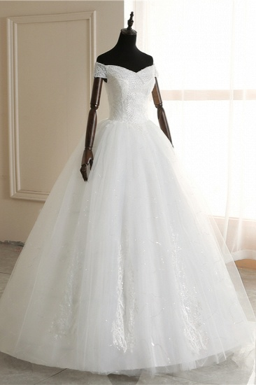 Affordable Off-the Shoulder Sweetheart Tulle Wedding Dress Appliques Sleeveless Bridal Gowns with Pearls_4