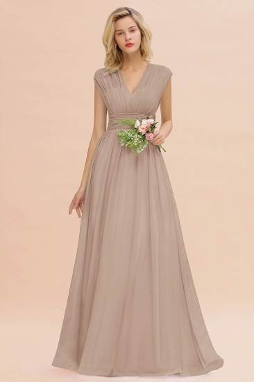 Elegant Chiffon V-Neck Ruffle Long Bridesmaid Dresses Affordable_16