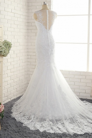 BMbridal Gorgeous White Mermaid Lace Wedding Dresses With Appliques Jewel Sleeveless Bridal Gowns Online_3