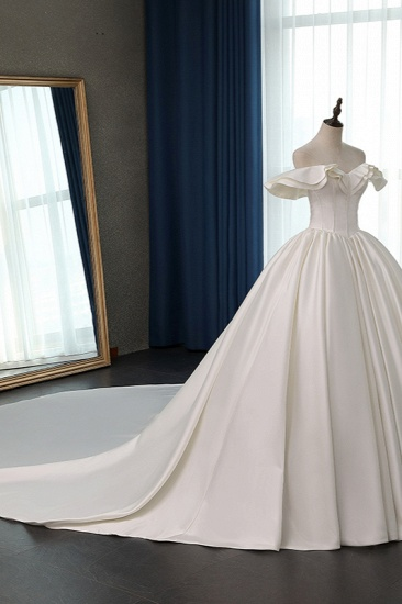 BMbridal Stylish Strapless Sweetheart Satin Wedding Dress Ruffles Sleeveless Ball Gowns Bridal Gowns On Sale_4