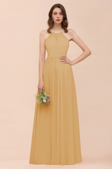 BMbridal Gorgeous Chiffon Halter Ruffle Affordable Long Bridesmaid Dress_13