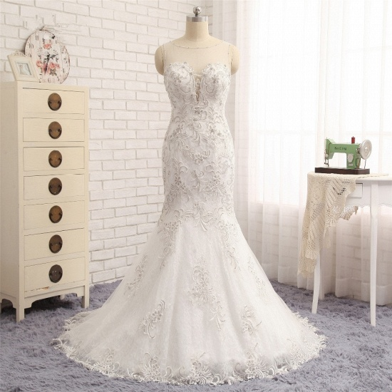 BMbridal Elegant White Sleeveless Jewel Wedding Dresses With Appliques Mermaid Lace Bridal Gowns Online_7