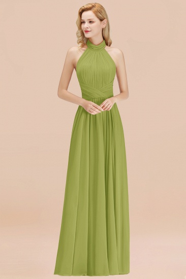 BMbridal Gorgeous High-Neck Halter Backless Bridesmaid Dress Dusty Rose Chiffon Maid of Honor Dress_34