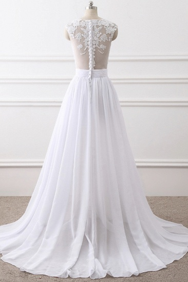 Elegant Jewel Chiffon Lace White Wedding Dress A-Line Sleeveless Appliques Bridal Gowns with Slit On Sale_3
