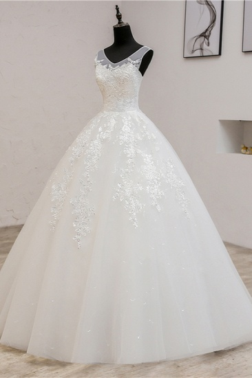 BMbridal Glamorous Sweetheart Tulle Lace Wedding Dress Ball Gown Sleeveless Appliques Ball Gowns On Sale_5