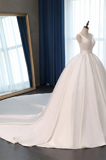 BMbridal Sexy Deep-V-Neck Straps Satin Wedding Dress Ball Gown Ruffles Sleeveless Bridal Gowns Online_4