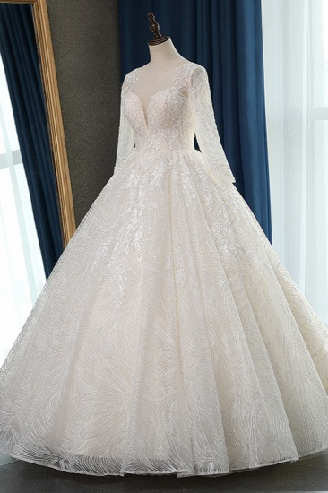 BMbridal Glamorous Ball Gown Jewel Appliques Wedding Dress Long Sleeves Bridal Gowns Online_4