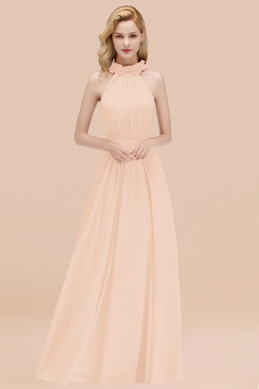 Modest High-Neck Halter Ruffle Chiffon Bridesmaid Dresses Affordable_5