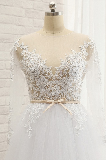 Affordable White Tulle Ruffles Lace Wedding Dresses Jewel Longsleeves Bridal Gowns With Appliques On Sale_5