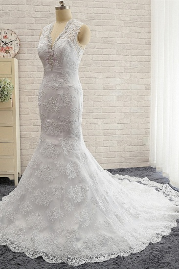 Chic Mermaid V-Neck Lace Wedding Dress Appliques Sleeveless Beadings Bridal Gowns On Sale_4