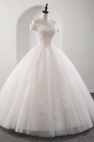 BMbridal Gorgeous Off-the-shoulder Pink A-line Wedding Dresses Tulle Ruffles Bridal Gowns With Appliques Online_4