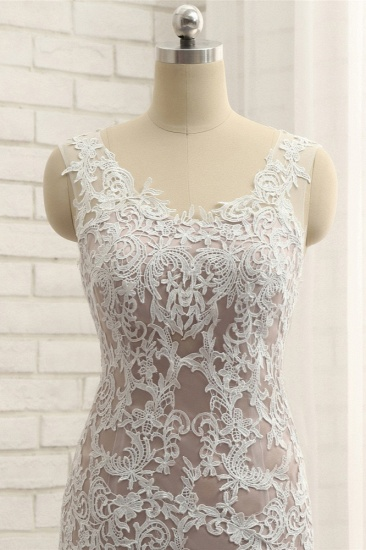 BMbridal Affordable Straps V-Neck Tulle Appliques Wedding Dress Sleeveless Lace Bridal Gowns On Sale_5