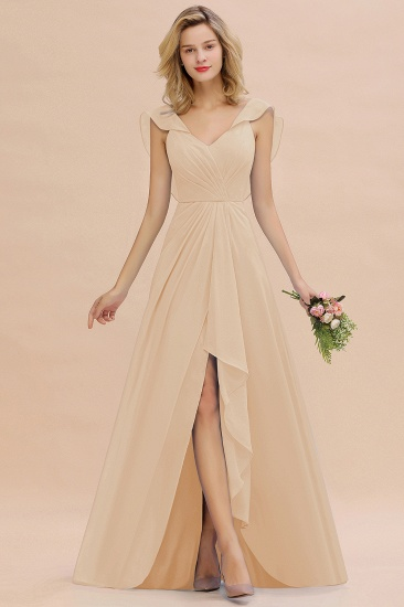 Modest Hi-Lo V-Neck Ruffle Long Bridesmaid Dress with Slit_14