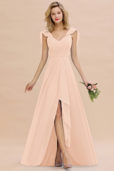 BMbridal Modest Hi-Lo V-Neck Ruffle Long Bridesmaid Dress with Slit_5