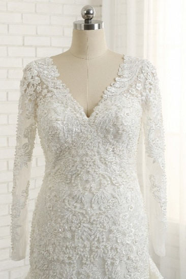 Unique Mermaid Longsleeves V-neck Wedding Dresses White Lace Bridal Gowns With Appliques On Sale_5