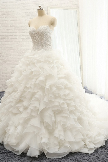 BMbridal Chic Sweatheart White A line Wedding Dresses Sleeveless Tulle Bridal Gowns Online_4