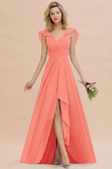 BMbridal Modest Hi-Lo V-Neck Ruffle Long Bridesmaid Dress with Slit_45