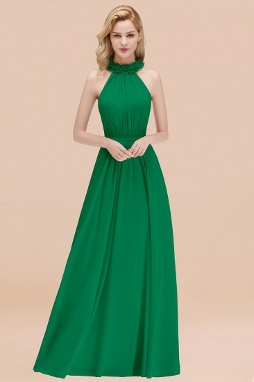 Modest High-Neck Halter Ruffle Chiffon Bridesmaid Dresses Affordable_49