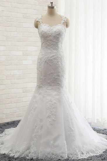 BMbridal Elegant Straps Sweetheart Lace Wedding Dress Sexy Backless Sleeveless Appliques Bridal Gowns with Beadings_1