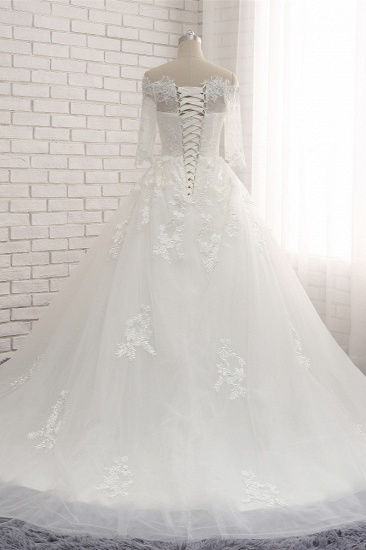 Gorgeous Bateau Halfsleeves White Wedding Dresses With Appliques A-line Tulle Ruffles Bridal Gowns Online_3