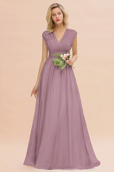 Elegant Chiffon V-Neck Ruffle Long Bridesmaid Dresses Affordable_43